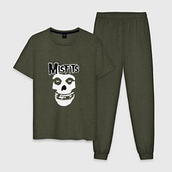 Пижама хлопковая мужская Отбросы цвета меланж-хаки — фото 1