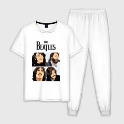 Пижама хлопковая мужская The Beatles Stories цвета белый — фото 1