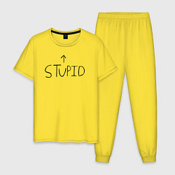 Пижама хлопковая мужская Green Day: Stupid цвета желтый — фото 1