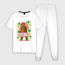 Пижама хлопковая мужская MISHKA: Live in Russia цвета белый — фото 1