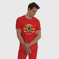 Пижама хлопковая мужская Bruins цвета красный — фото 2