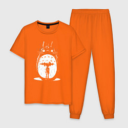 Пижама хлопковая мужская Totoro in rain цвета оранжевый — фото 1
