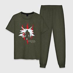 Пижама хлопковая мужская OLD WOLF цвета меланж-хаки — фото 1