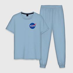Пижама хлопковая мужская NASA цвета мягкое небо — фото 1