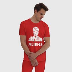 Пижама хлопковая мужская Mulder Aliens цвета красный — фото 2
