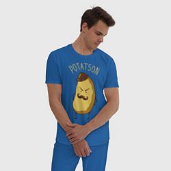 Пижама хлопковая мужская Potatson цвета синий — фото 2