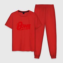 Пижама хлопковая мужская Bowie Logo цвета красный — фото 1
