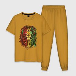 Пижама хлопковая мужская Rasta Lion цвета горчичный — фото 1