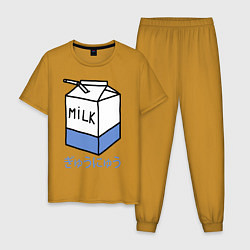 Пижама хлопковая мужская White Milk цвета горчичный — фото 1
