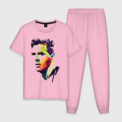 Пижама хлопковая мужская Lionel Messi: fun-art цвета светло-розовый — фото 1
