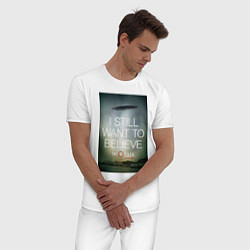 Пижама хлопковая мужская X-Files: Aliens цвета белый — фото 2
