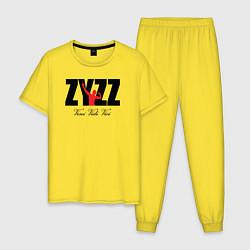 Пижама хлопковая мужская Zyzz цвета желтый — фото 1