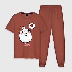 Пижама хлопковая мужская Кролик Моланг с клубникой цвета кирпичный — фото 1