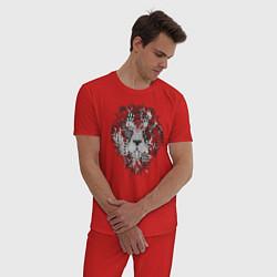 Пижама хлопковая мужская Расписной лев цвета красный — фото 2