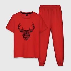 Пижама хлопковая мужская Расписной олень цвета красный — фото 1