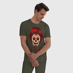 Пижама хлопковая мужская День мертвецов цвета меланж-хаки — фото 2