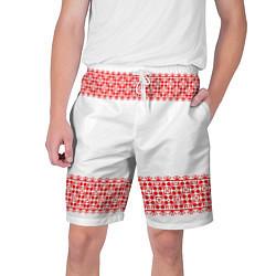 Шорты на шнурке мужские Славянский орнамент (на белом) цвета 3D — фото 1
