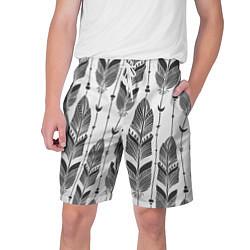 Шорты на шнурке мужские Перья цвета 3D — фото 1