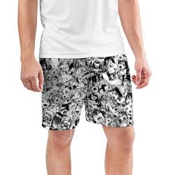 Шорты спортивные мужские Ahegao: Black & White цвета 3D — фото 2
