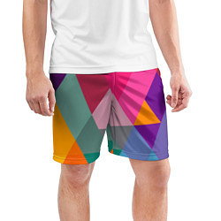 Шорты спортивные мужские Разноцветные полигоны цвета 3D — фото 2