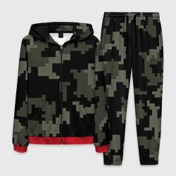 Костюм мужской Камуфляж пиксельный: черный/серый цвета 3D-красный — фото 1