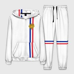 Костюм мужской Франция: лента с гербом цвета 3D-белый — фото 1