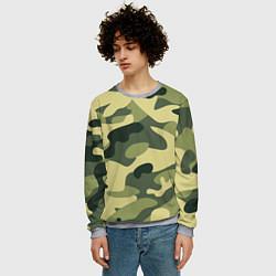 Свитшот мужской Камуфляж: зеленый/хаки цвета 3D-меланж — фото 2