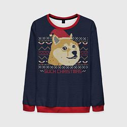 Свитшот мужской Doge Such Christmas цвета 3D-красный — фото 1