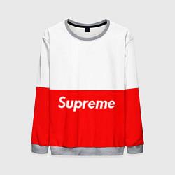 Свитшот мужской Supreme: White & Red цвета 3D-меланж — фото 1