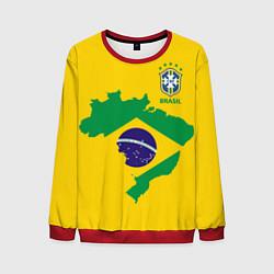 Свитшот мужской Сборная Бразилии: желтая цвета 3D-красный — фото 1
