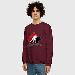 Свитшот хлопковый мужской Canada цвета меланж-бордовый — фото 2