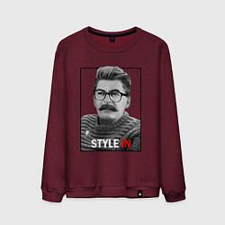 Свитшот хлопковый мужской Stalin: Style in цвета меланж-бордовый — фото 1