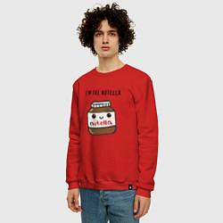 Свитшот хлопковый мужской Нутелла цвета красный — фото 2