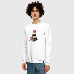 Свитшот хлопковый мужской Милый Соевый соус цвета белый — фото 2