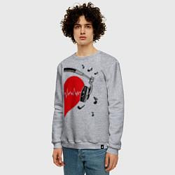 Свитшот хлопковый мужской Влюбленный меломан цвета меланж — фото 2