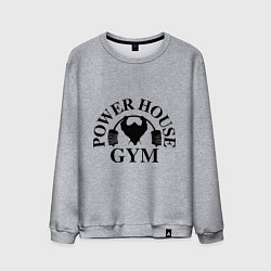Свитшот хлопковый мужской Power House Gym цвета меланж — фото 1