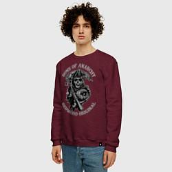 Свитшот хлопковый мужской Sons of Anarchy: Redwood Original цвета меланж-бордовый — фото 2