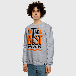 Свитшот хлопковый мужской The best man цвета меланж — фото 2