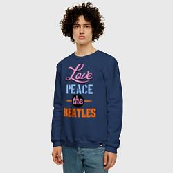 Свитшот хлопковый мужской Love peace the Beatles цвета тёмно-синий — фото 2