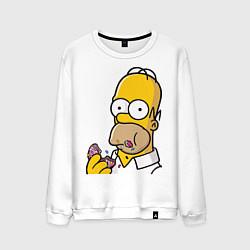 Свитшот хлопковый мужской Гомер с Пончиком цвета белый — фото 1