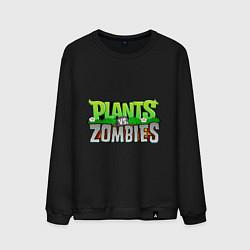 Свитшот хлопковый мужской Plants vs zombies цвета черный — фото 1