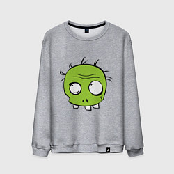 Свитшот хлопковый мужской Zombie (plant) цвета меланж — фото 1
