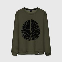 Свитшот хлопковый мужской Он: мозг цвета хаки — фото 1