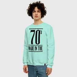 Свитшот хлопковый мужской Made in the 70s цвета мятный — фото 2