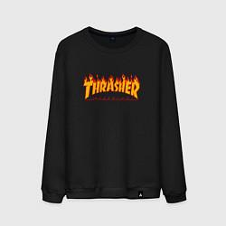 Свитшот хлопковый мужской Thrasher Magazine: Flame Fire цвета черный — фото 1
