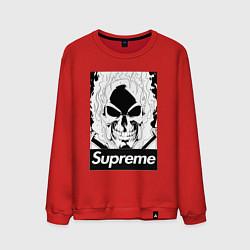 Свитшот хлопковый мужской Supreme Skull цвета красный — фото 1