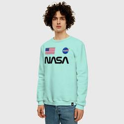 Свитшот хлопковый мужской NASA НАСА цвета мятный — фото 2