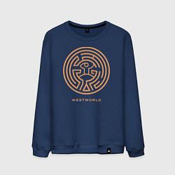 Свитшот хлопковый мужской Westworld labyrinth цвета тёмно-синий — фото 1