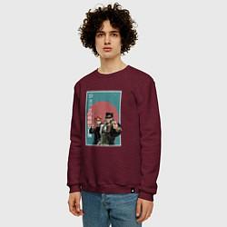 Свитшот хлопковый мужской ДжоДжо цвета меланж-бордовый — фото 2