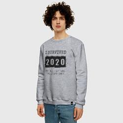 Свитшот хлопковый мужской 2020 - я выжил цвета меланж — фото 2